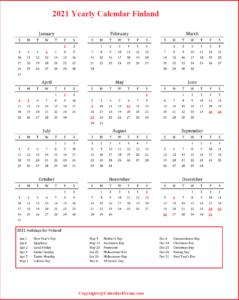 2021 Yearly Calendar Finland