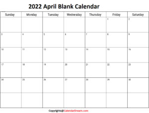 2022 April Blank Calendar