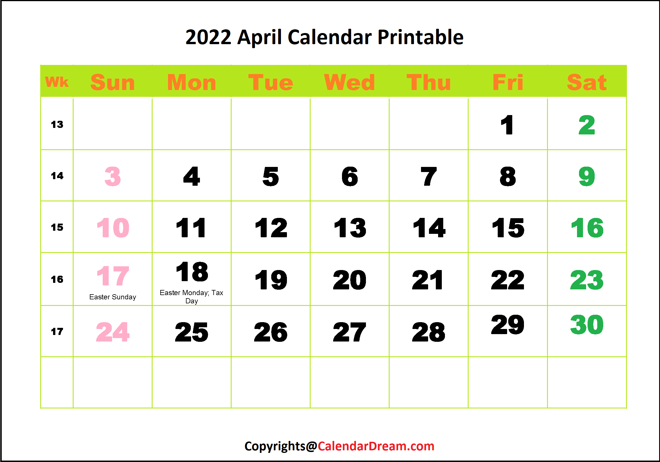 2022 April Calendar Printable PDF