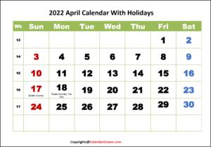 2022 April Calendar With Holidays