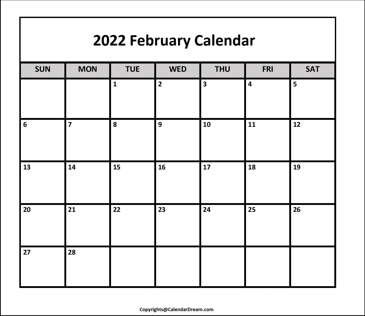 2022 February Calendar