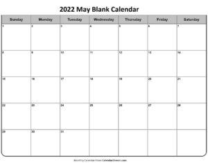 2022 May Blank Calendar