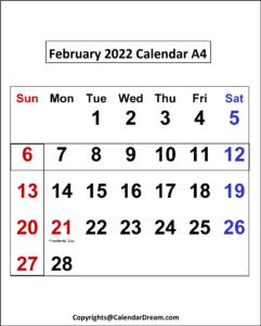 February 2022 Calendar A4