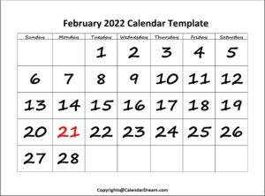 February 2022 Calendar Template