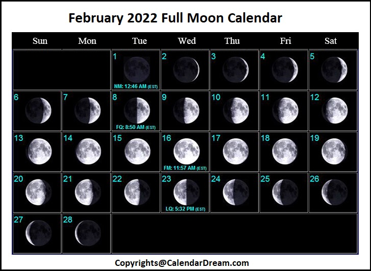 February 2022 Full Moon Calendar