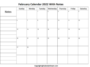 February Calendar 2022 with Notes