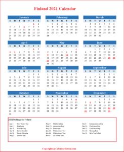 Finland 2021 Calendar