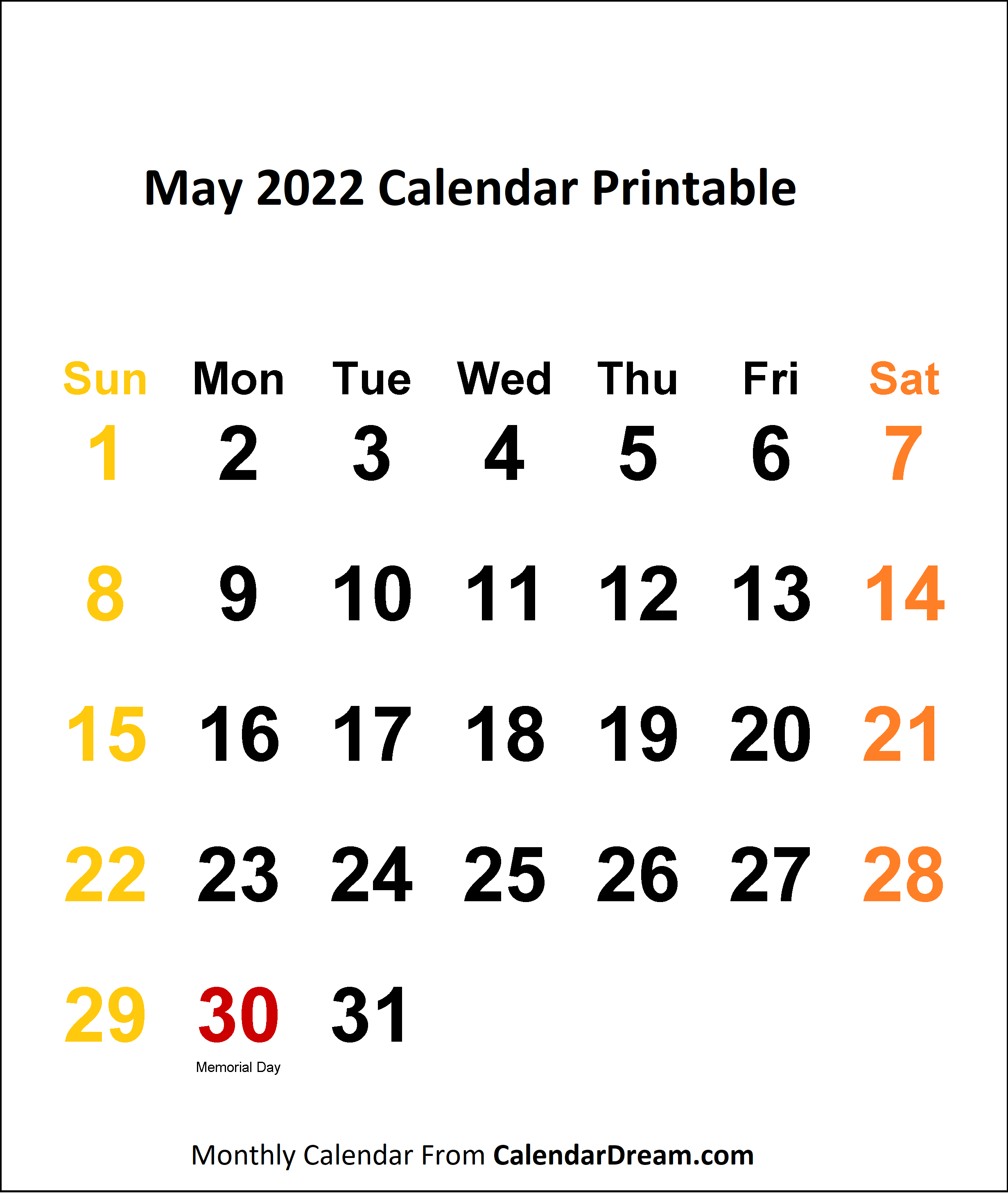 May 2022 Calendar Printable