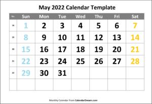 May 2022 Calendar Template