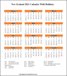 New Zealand 2021 Calendar with Holidays