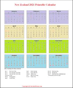 New Zealand 2021 Printable Calendar