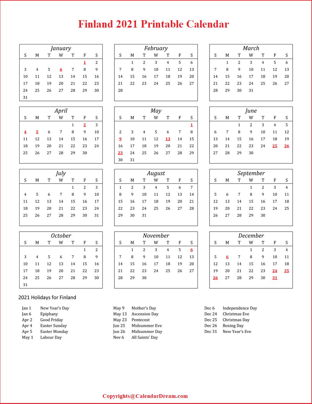 Finland 2021 Printable Calendar