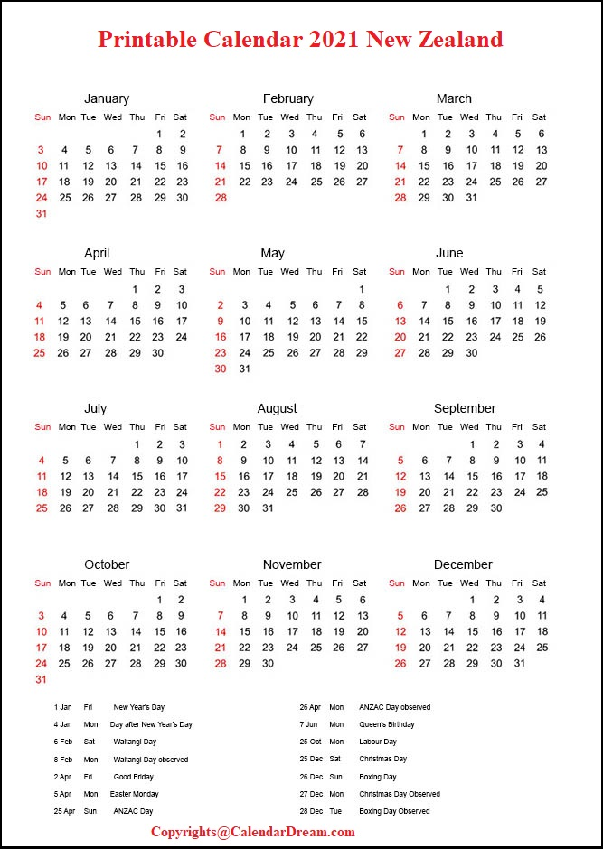 Printable Calendar 2021 New Zealand