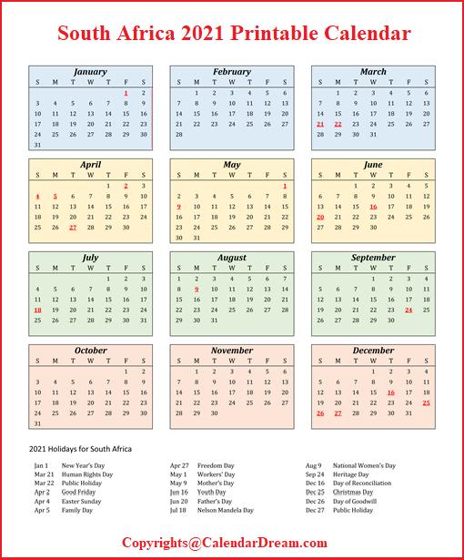 South Africa 2021 Printable Calendar