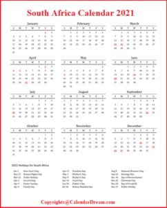 SA Calendar 2021