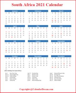 South Africa 2021 Calendar