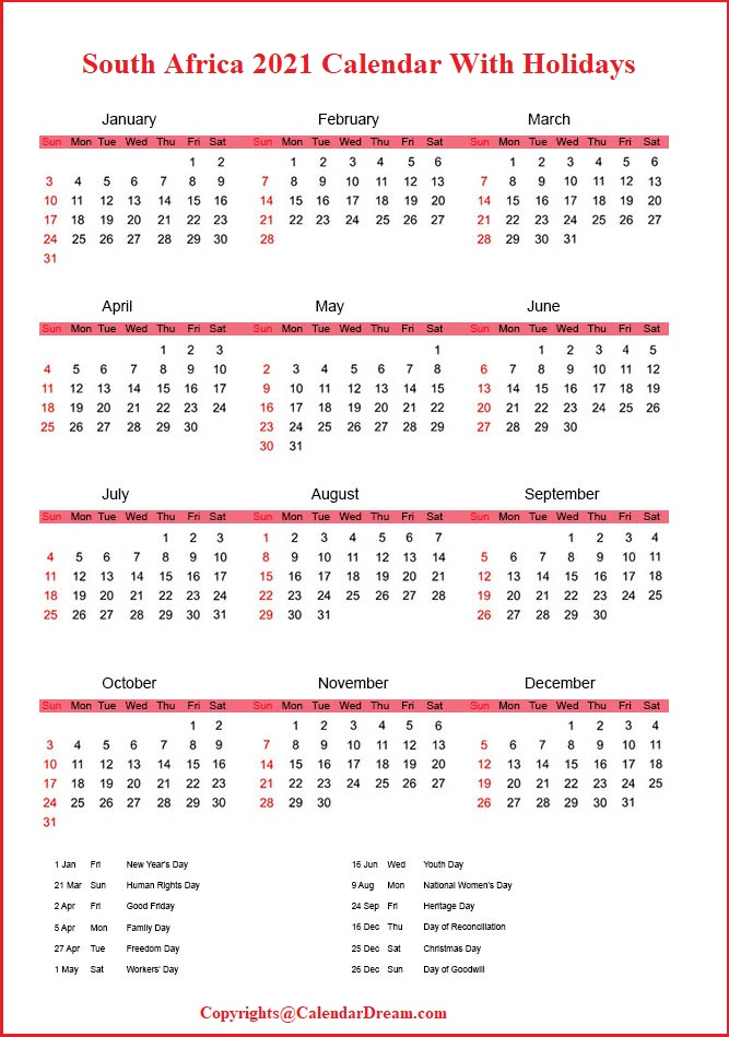 South Africa 2021 Calendar with Holidays
