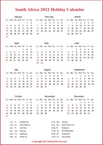 South Africa Holiday 2021 Calendar