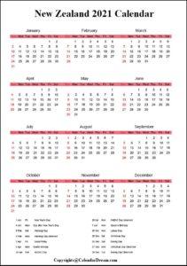 Yearly New Zealand 2021 Calendar